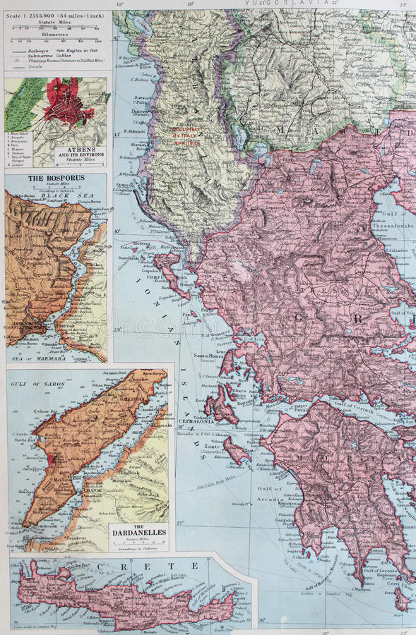 Old 1945 map of greece and greek islands stock illustration detailed old 1945 map of greece and greek islands including crete main railway and travel routes included gumiabroncs Choice Image