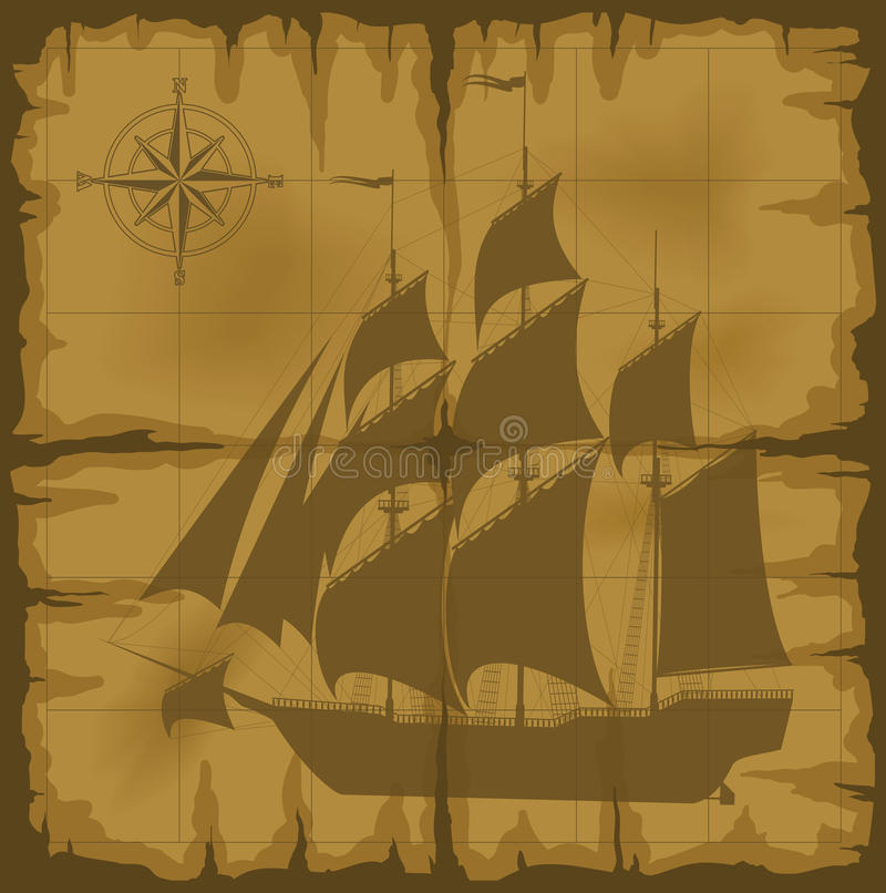 Old map with image of large ship. And compass rose. vector illustration. Additional vector format in EPS 8 royalty free illustration