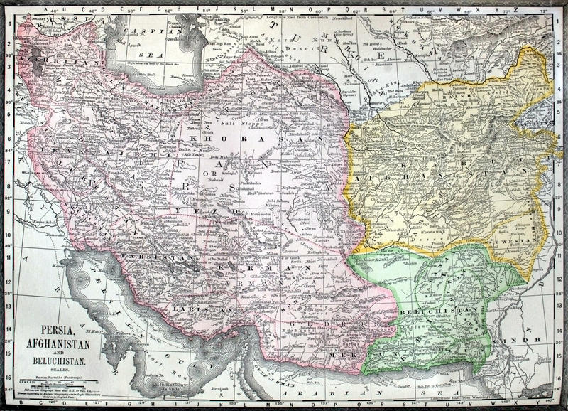 Old map of Iran, Afganistan and Pakistan