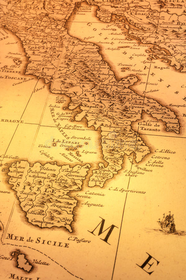 Download Old Map Of Italy And Balkans Stock Photo - Image: 25329108