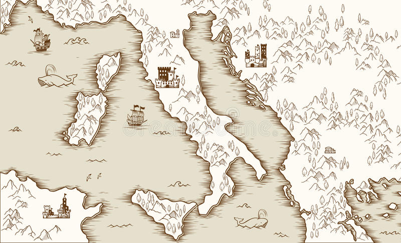 Old map of Italy, Medieval cartography, vector illustration. Pirate treasure map stock illustration