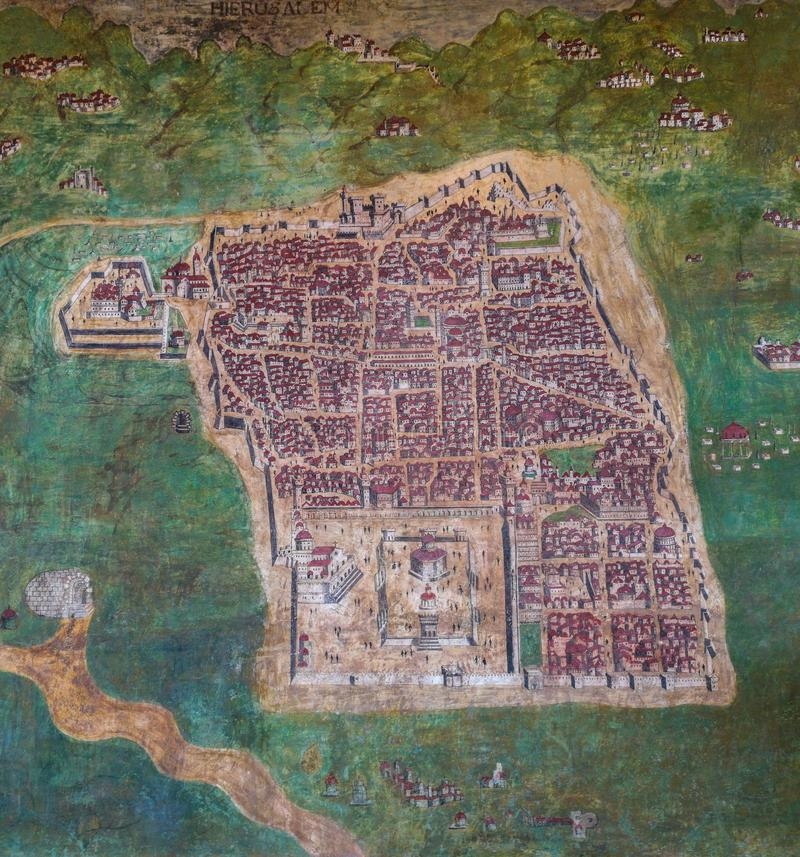 Old Map of Jerusalem, Israel. Old vintage wall painting map of the port city of Jerusalem, Israel. Done in the late XV century royalty free stock photography