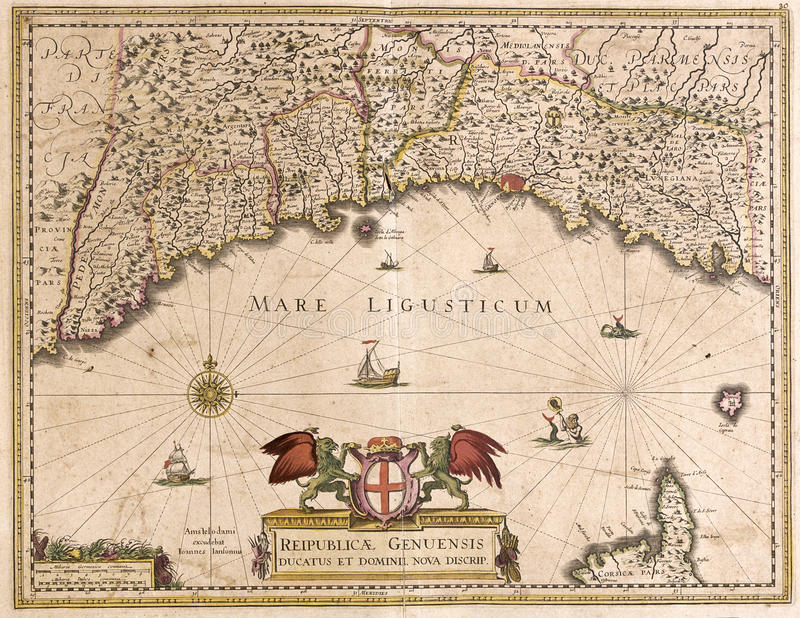 Old map of Liguria, Italy stock illustration