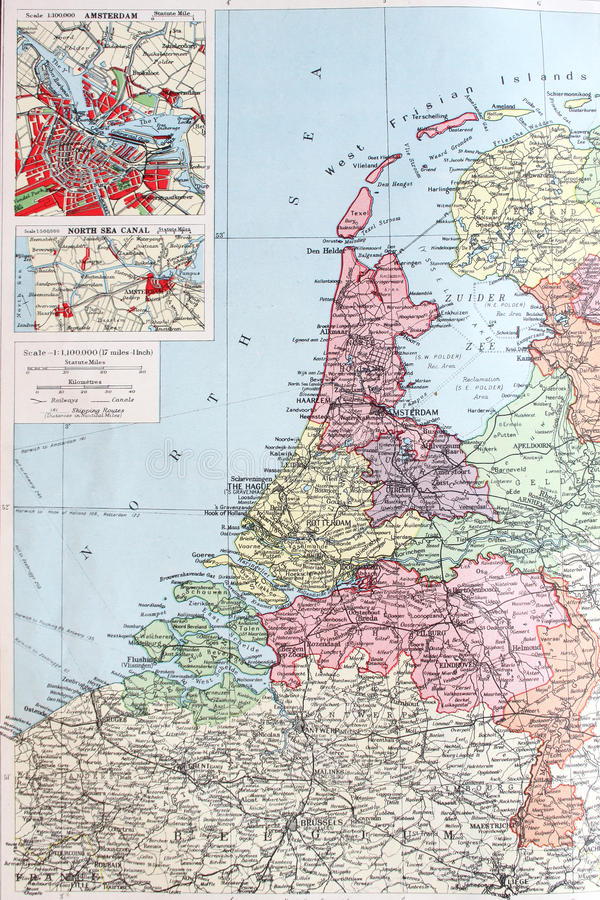 Old 1945 Map Of Netherlands Or Holland Stock Illustration