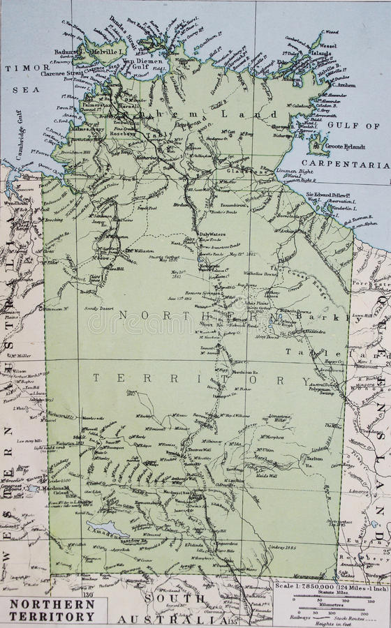 Old Map Of Northern Territory Australia Stock Illustration - Australia detailed map