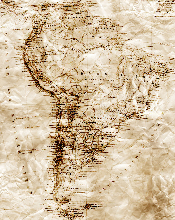 Free Old Map Of South America Stock Image - 9044721