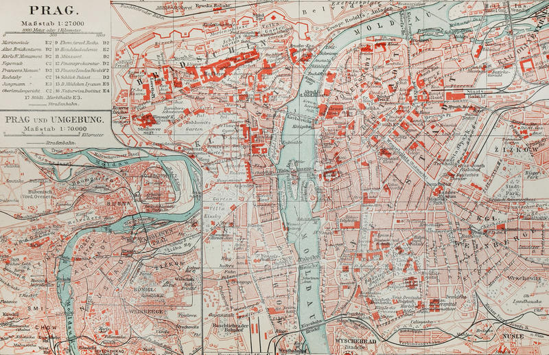 Old map of Prague stock photo