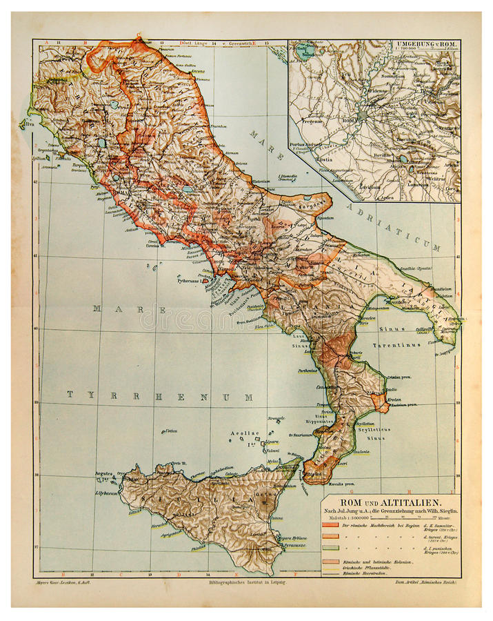 Old Map Of Rome And Old Italy Stock Photo - Image of global, italy ...