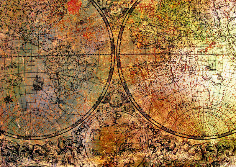 Old map on rusty metal royalty free stock photos