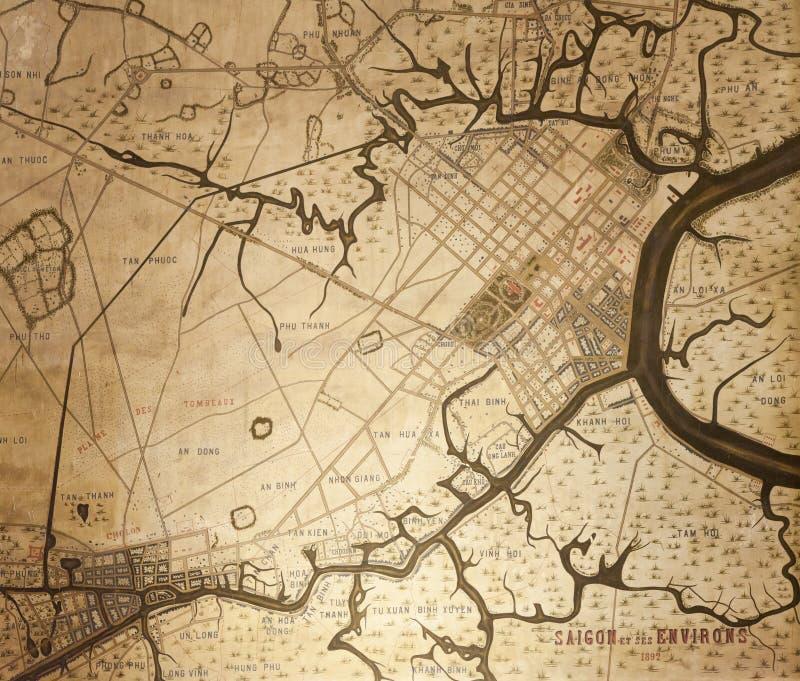 Old map of Saigon royalty free stock photo