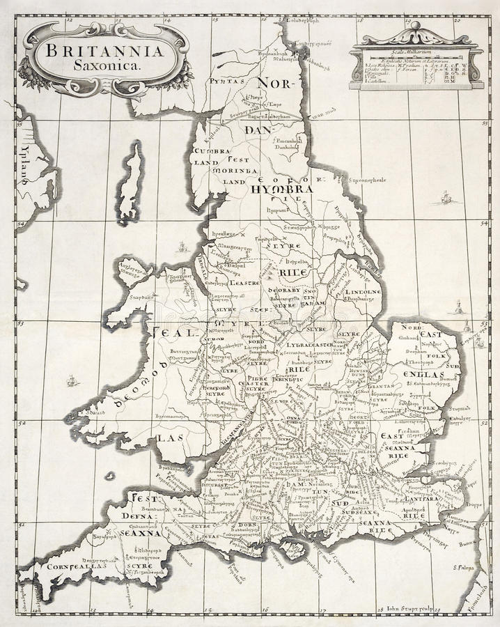 Download Old map of saxon britain stock illustration. Image of england - 23410919
