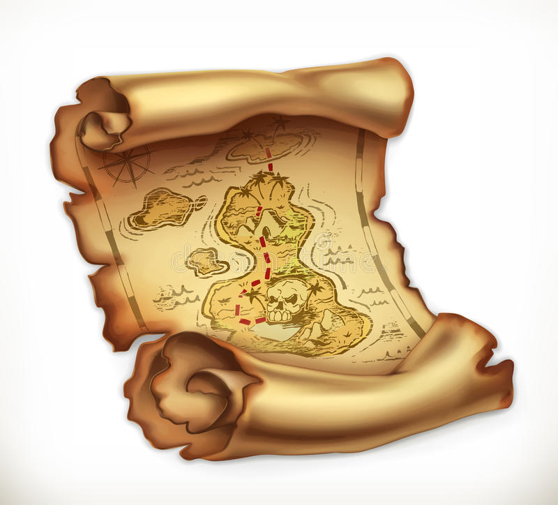 Old map, treasure island. Vector icon. Old map, treasure island. 3d vector icon vector illustration