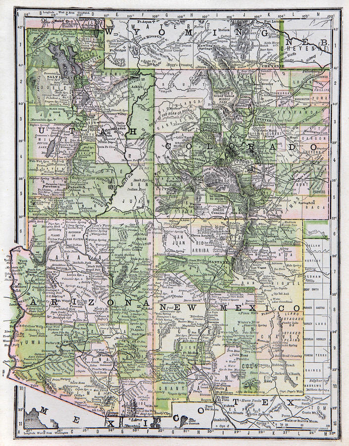 Old Map of the US Southwest royalty free stock photo