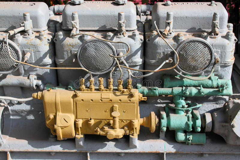 Old marine engine stock photo