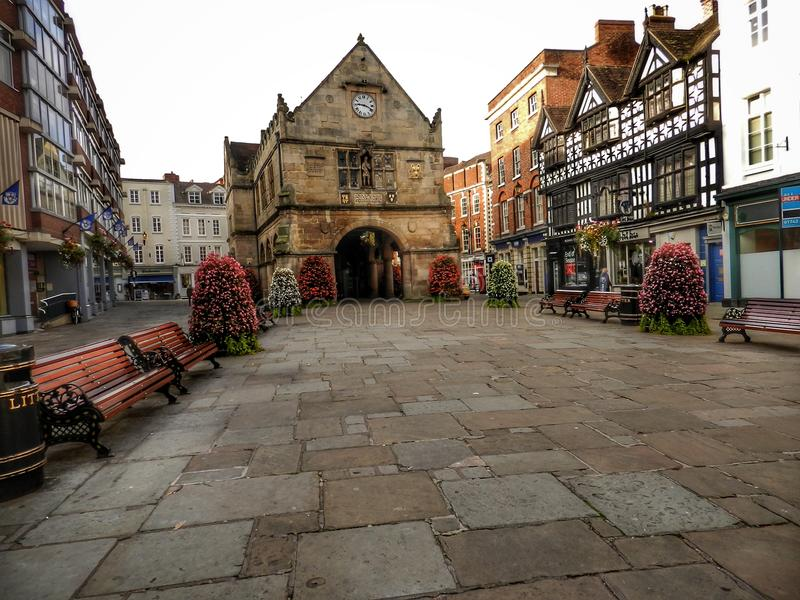 The Old Market Hall, Shrewsbury. Shropshire stock images