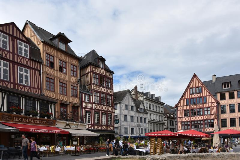 Old market place with half timbered houses in Rouen stock image