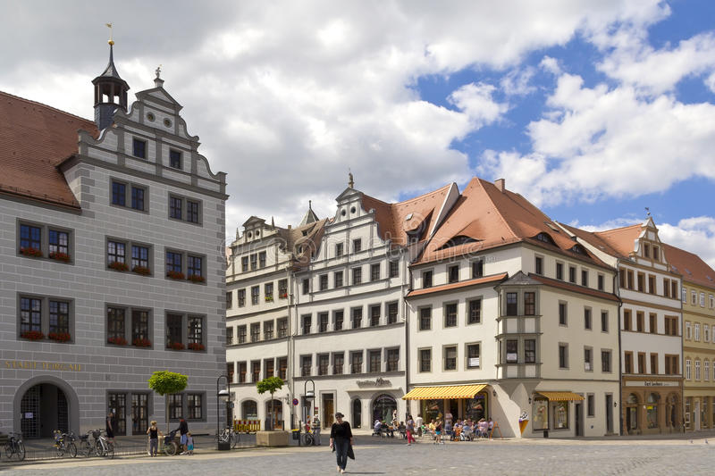 Old Market Place of Torgau. View to the facades and roofs of old houses at the market place of Torgau (Saxony; Germany). The market place is located in the old stock photos