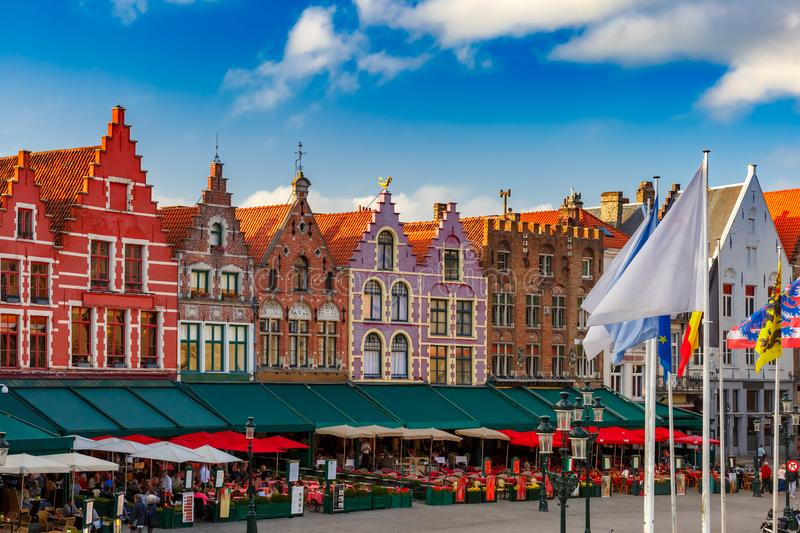 Old Market square in Bruges, Belgium. Typical Flemish colored houses on the Grote Markt or Market Square in the center of Bruges, Belgium stock photography