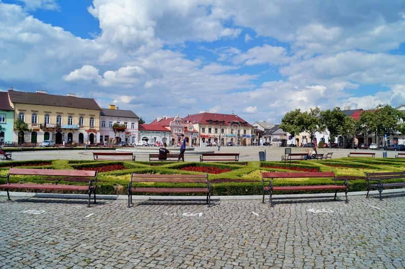 Old market square in Lowicz, Poland. LOWICZ, Poland .Old market square in Lowicz royalty free stock photography