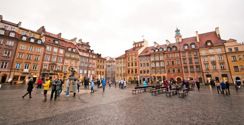 Old Market Square in Warsaw. People in the Old Market Square, Stary Rynek, Warsaw town center, Poland stock photography