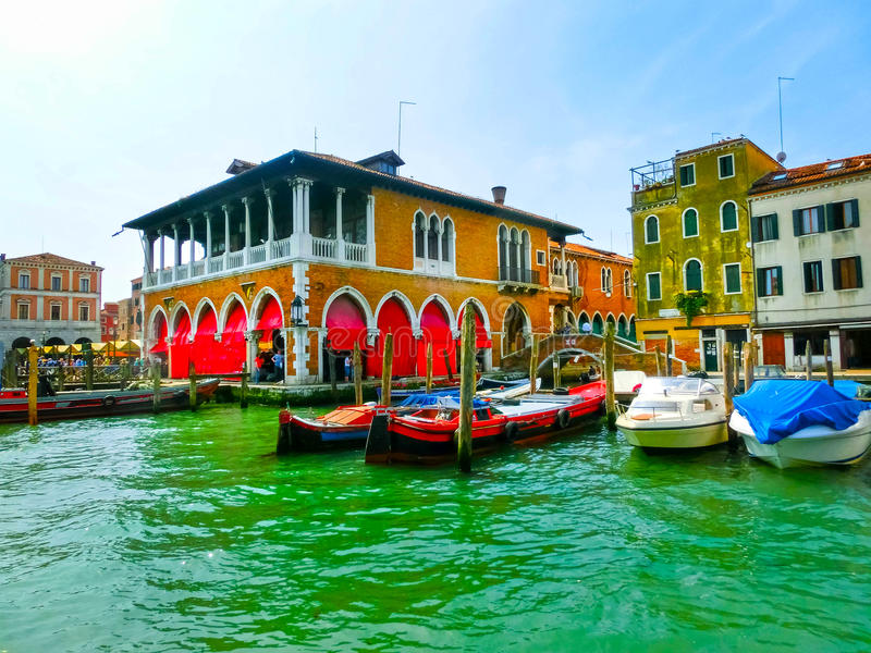 Old Market in Venice, Italy stock image