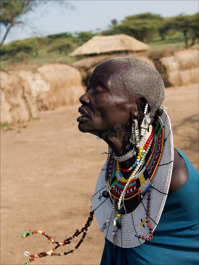 Old masai woman. royalty free stock photography