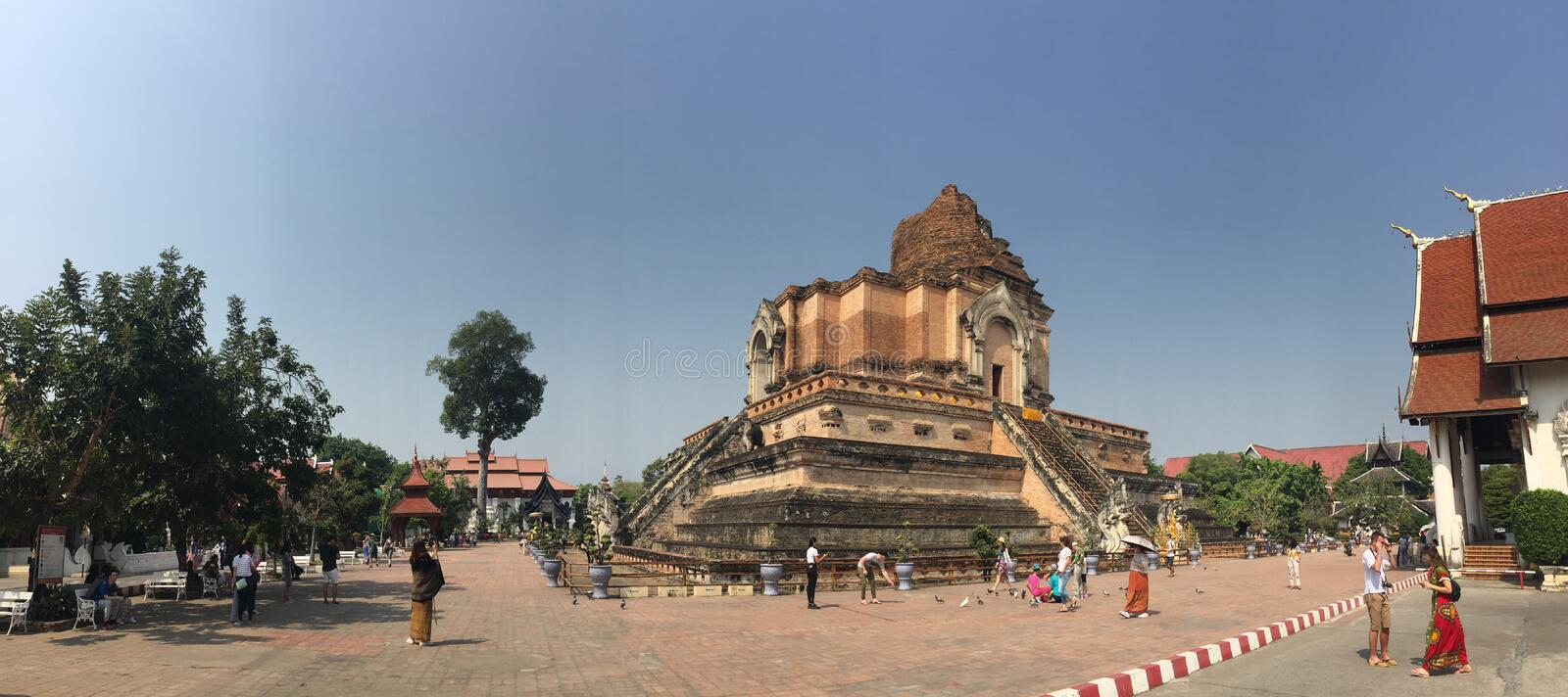Old massive ruins pagoda of Wat Chedi Luang (temple of the big royal stupa), located in Chiang Mai, Thailand. Wat Chedi Luang was stock photography