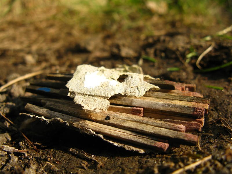 Old matches on the ground stock photos