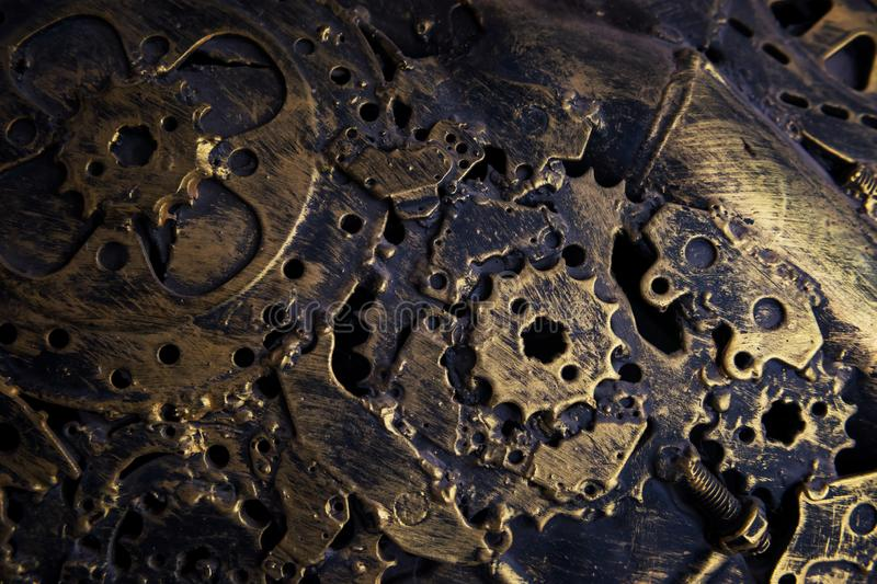 Old gold metal machanic part textured background royalty free stock photography