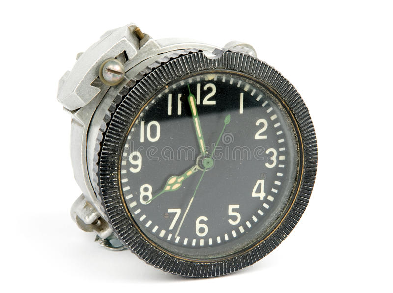 Old mechanical airborne clock stock photography
