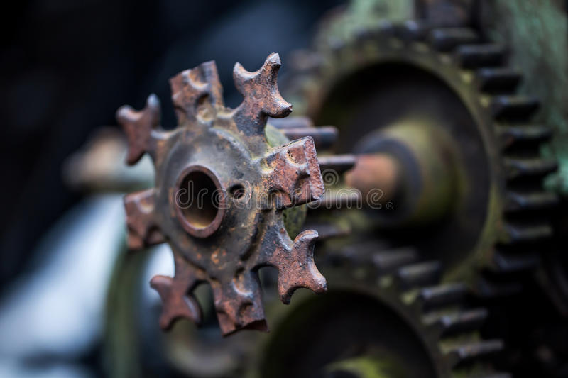 old mechanical parts stock images