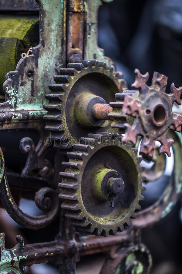 Old mechanical parts. Beautiful old mechanical parts, retro concept, background stock image