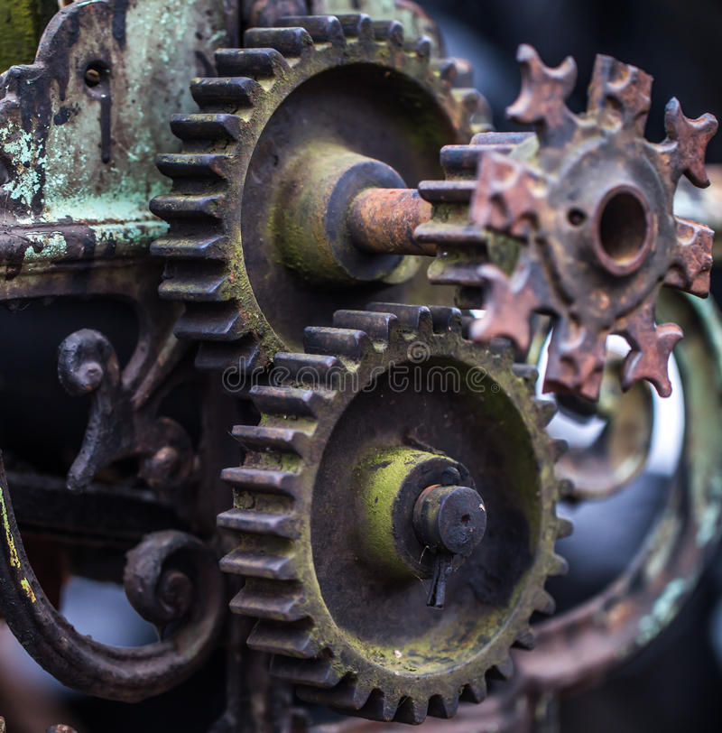 Old mechanical parts. Beautiful old mechanical parts, retro concept, background stock photo