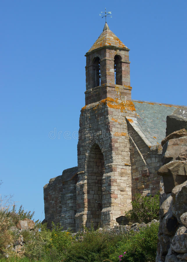 An Old Medevil English Church On Holy Island stock image