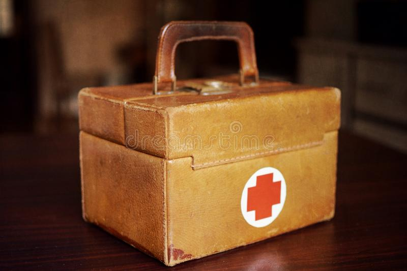Old medical bag. Bag - the first-aid kit stock photos