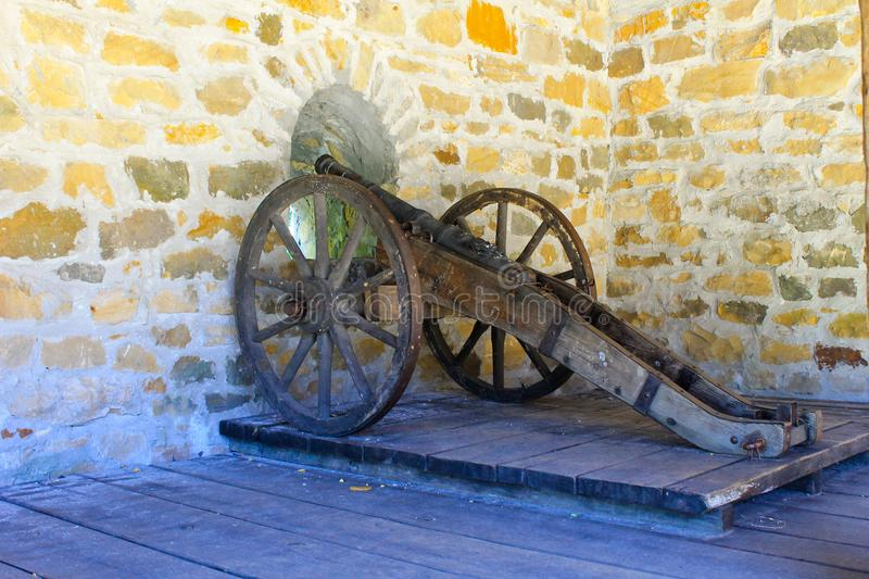 Old medieval artillery canon royalty free stock photo