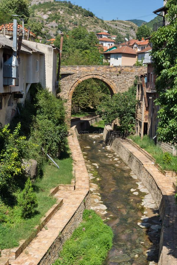 Old Medieval Bridge at the center of town of Kratovo, Republic of Macedonia. KRATOVO, MACEDONIA - JULY 21, 2018: Old Medieval Bridge at the center of town of stock photo