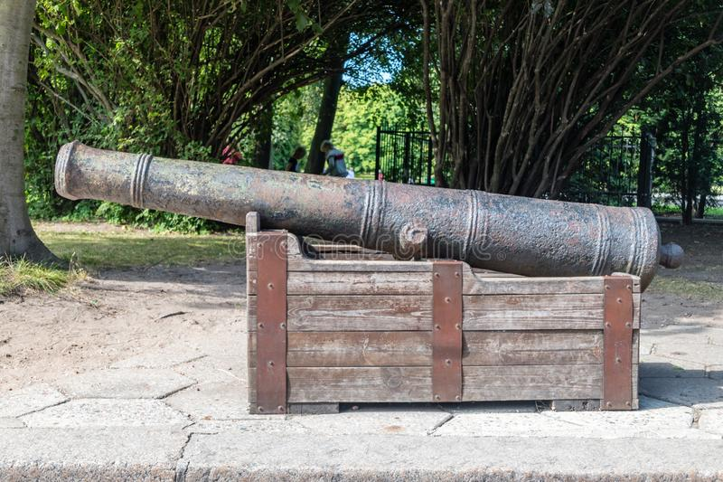 Old medieval cannon in Kaliningrad, Russian Federation. Old medieval cannon in Kningrad, Russian Federation stock images