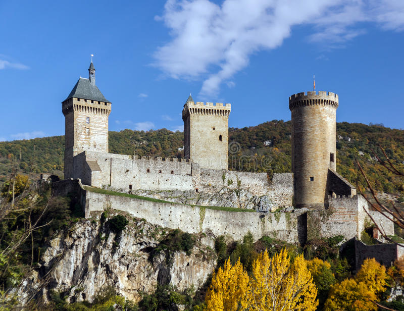 Old medieval castle in Foix, Ariege. South France royalty free stock photography
