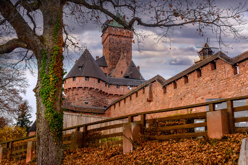 Old medieval castle of Haut-Koenigsbourg in Alsace or fortress royalty free stock images