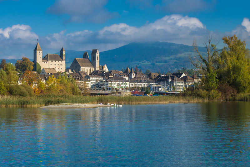 The old medieval city of Rapperswil, Lake Zurich, Switzerland. The old medieval city of Rapperswil perched atop a rocky hill on the Lindenhof hill peninsula stock images