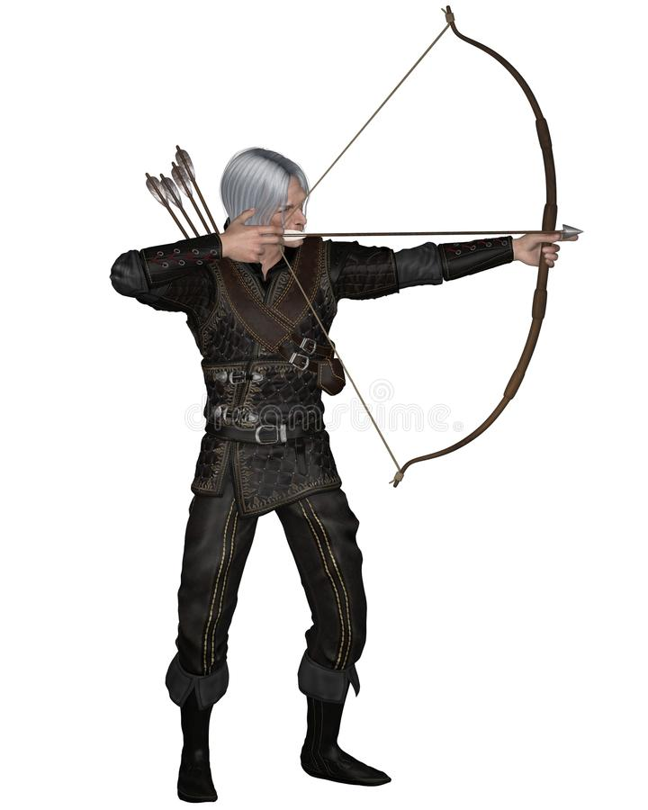 Old Medieval or Fantasy Archer. Old Mediaeval or fantasy archer with drawn bow and arrow wearing leather armour, 3d digitally rendered illustration royalty free illustration