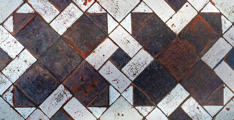 Old medieval floor tiles pattern texture. Background stock images