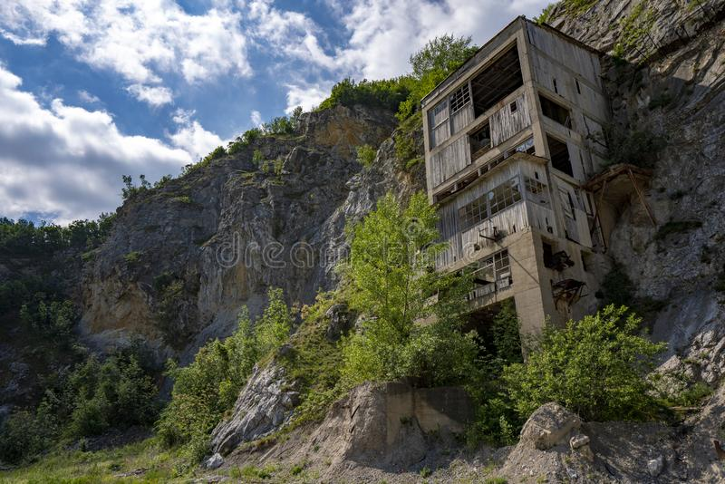 Old medieval fortress Golubac other side abandoned bulding from old mine, Serbia stock photo
