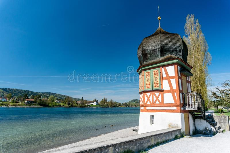 Old medieval guard tower on the Rhine outside of the town of Stein Am Rhein stock photo