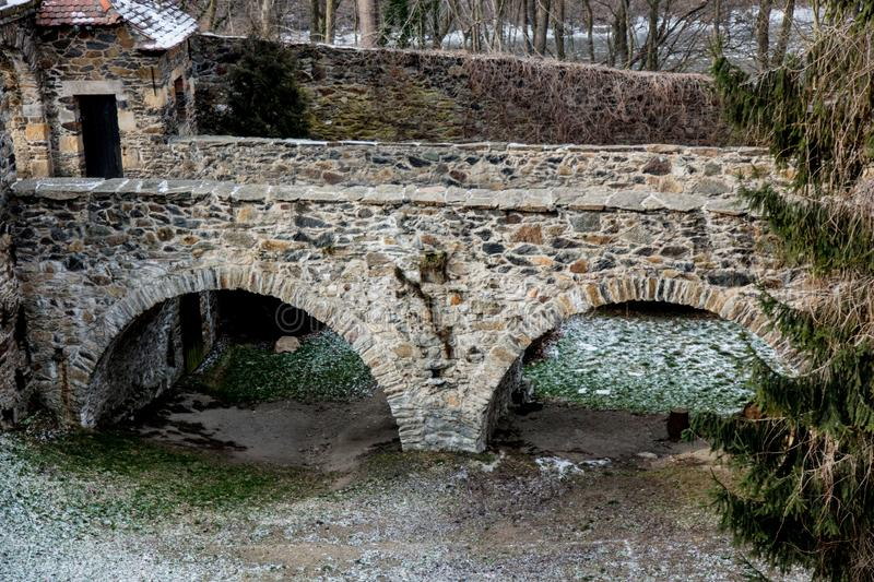 Old medieval stone brick bridge in to a castle. Europe, Poland stock photos