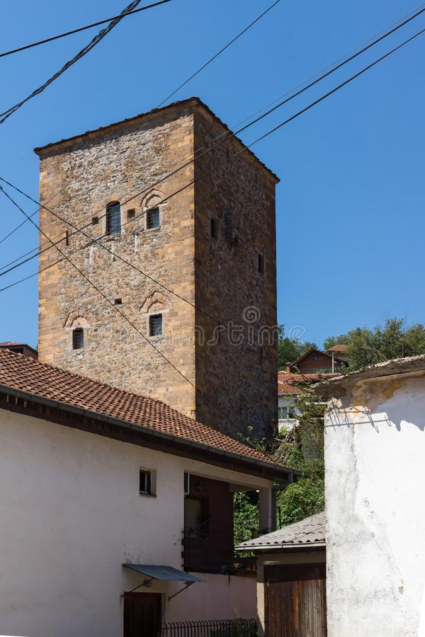 Old Medieval Tower at the center of town of Kratovo, Republic of Macedonia. KRATOVO, MACEDONIA - JULY 21, 2018: Old Medieval Tower at the center of town of royalty free stock photo