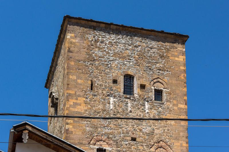Old Medieval Tower at the center of town of Kratovo, Republic of Macedonia. KRATOVO, MACEDONIA - JULY 21, 2018: Old Medieval Tower at the center of town of stock photography
