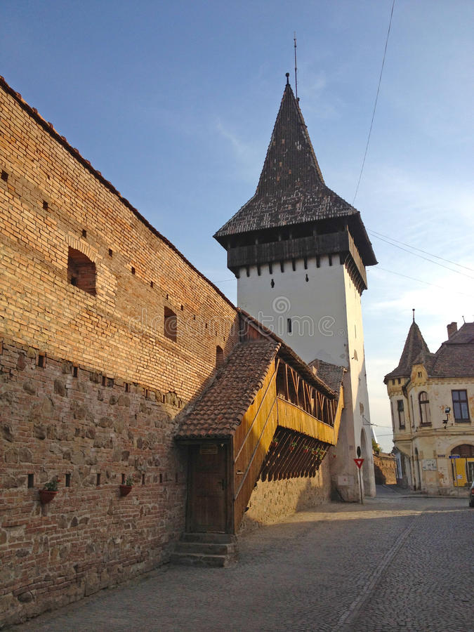 Old medieval tower. In the city of Medias, Transylvania royalty free stock images