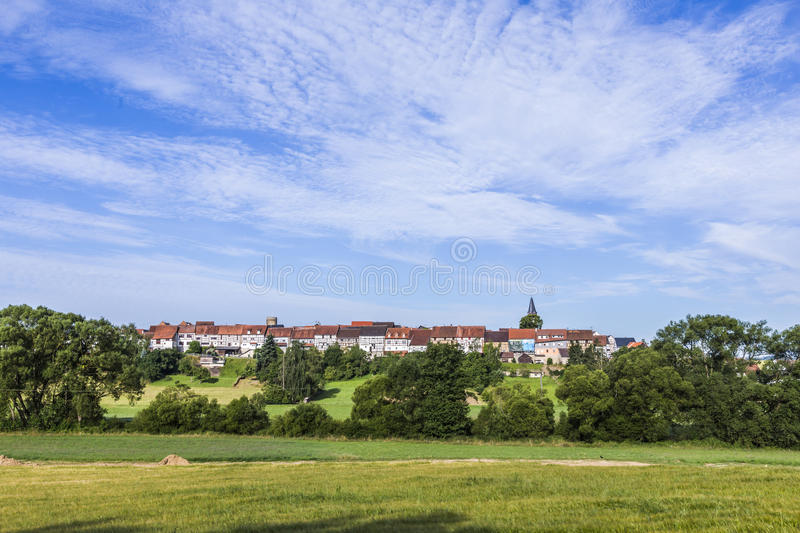Old medieval town wall build of half timbred houses in Idstein W. Alsdorf in morning light stock image